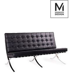 Modesto sofa barcelon czarna - ekoskóra, stal polerowana marki Modesto design