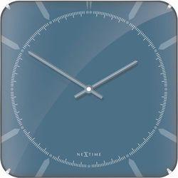 Zegar ścienny Basic Square Dome blue by Nextime, kolor Zegar