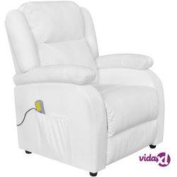 fotel masujący, biały, sztuczna skóra marki Vidaxl