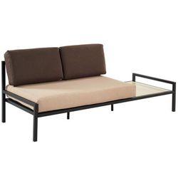 Sofa balea, 2-osobowa, rozkładana, z tkaniny, z wbudowanym stolikiem – kolor beżowo-czekoladowy marki Vente-unique