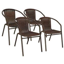 Krzesła ogrodowe 4 szt. metalowe, plecione krzesło na balkon brązowe zestaw mix