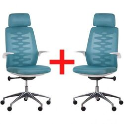 B2b partner Krzesło biurowe z oparciem siatkowym sitta white 1+1 gratis, niebieskie