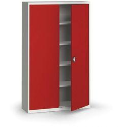 Szafa metalowa, 1950 x 1200 x 400 mm, 4 półki, szara/czerwona