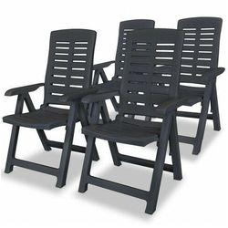 Vidaxl rozkładane krzesła ogrodowe, 4 szt., plastikowe, antracytowe marki Elior