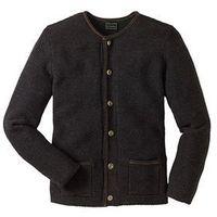 Sweter rozpinany w ludowym stylu Regular Fit bonprix antracytowy melanż, w 5 rozmiarach