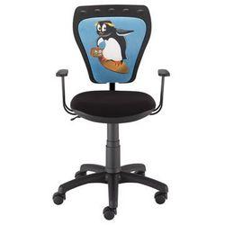 Obrotowe krzesło dziecięce z pingwinem na oparciu ministyle marki Nowy styl