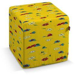 pufa kostka twarda, wesołe kreciki na żółtym tle, 40x40x40 cm, wyprzedaż do -30% marki Dekoria