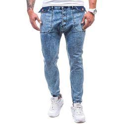 Niebieskie spodnie jeansowe joggery męskie Denley 811 - NIEBIESKI