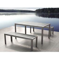 Beliani Aluminiowe meble ogrodowe szare z dwiema ławkami, polywood, nardo, kategoria: zestawy ogrodowe