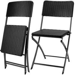 6 x krzesło ogrodowe składane czarne biwak camping wyprodukowany przez Wideshop