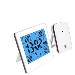 Podświetlana stacja pogody RCC, kalendarz, zegar - biały