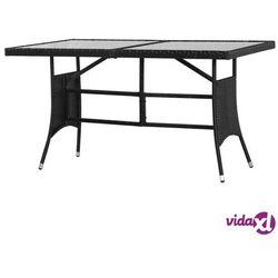stół ogrodowy, czarny, 140x80x74 cm, polirattan marki Vidaxl