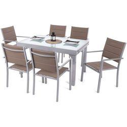 Home&garden Meble ogrodowe aluminiowe orlando silver / taupe 6+1