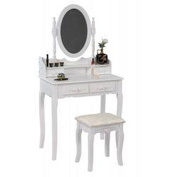 Meblemwm Toaletka kosmetyczna z lustrem biała + taboret