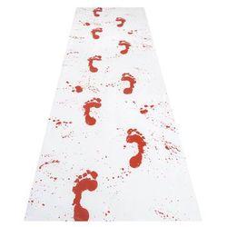 Biały dywan ze śladami zakrwawionych stóp - 1 szt.
