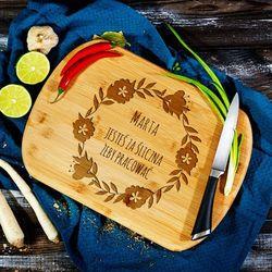 Za śliczna - deska do krojenia z grawerem - Deska bambusowa