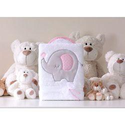 MAMO-TATO Kocyk dla dzieci długowłosy dwustronny z haftem Słonik biało-różowy