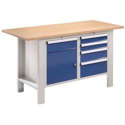 Stół warsztatowy, szer. blatu 1500 mm, blat z multipleksu, 5 szuflad, 1 drzwi. S