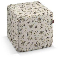 pufa kostka twarda, szaro-oliwkowe kwiaty na jasnym tle, 40x40x40 cm, londres marki Dekoria