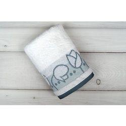 Ręcznik bawełniany 50x90 Tulipano Biały-Greno