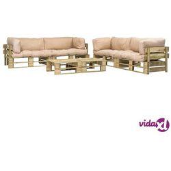 vidaXL Ogrodowe meble z palet, 6 szt., drewno FSC + piaskowe poduszki (8718475715788)