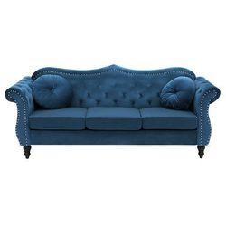 Sofa trzyosobowa welur kobaltowa SKIEN, kolor niebieski