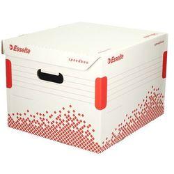 Pudło archiwizacyjne 367x263x325 biało-czerwone otwierana góra speedbox marki Esselte