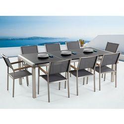 Meble ogrodowe - stół granitowy 220 cm czarny polerowany z 8 szarymi krzesłami - GROSSETO (7081457575146)