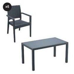 Zestaw mebli ogrodowych Ibiza - technorattan - stół + 6 krzeseł szary, SIS-ZES-IBI61GR