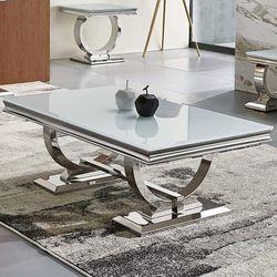 Ława glamour Modena 130x70x46 - stal szlachetna blat szklany nowoczesny, Modena/L2