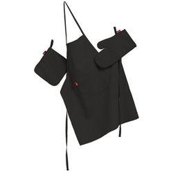 komplet kuchenny fartuch,rękawica i łapacz, czarny, kpl, loneta, marki Dekoria