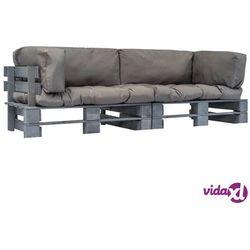 ogrodowe sofy z palet, 2 szt., drewno fsc z szarymi poduszkami marki Vidaxl