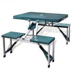 vidaXL Zestaw kempingowy stół+krzesła aluminium kolor zielony, kup u jednego z partnerów