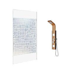 Vente-unique Zestaw prysznicowy 2 produkty: ścianka prysznicowa laura 140 cm i kolumna prysznicowa dalima