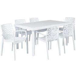 Jadalnia ogrodowa DIADEME – Stół + 6 foteli – Polipropylen – Kolor: biel dolomitowa