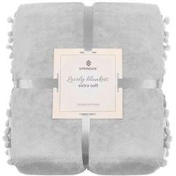 Narzuta na łóżko z pomponami, pled 200x220 cm dwustronny koc na kanapę jasny szary (5907719414669)