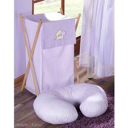 MAMO-TATO Kosz na bieliznę Miś z serduszkiem w fiolecie z kategorii Kosze na pranie