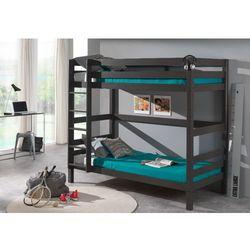 Łóżko dla dzieci piętrowe Pino sosna ciemnoszara