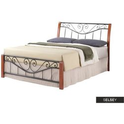 łóżko metalowe malakka 140x200 cm antyczna czereśnia - czarne marki Selsey