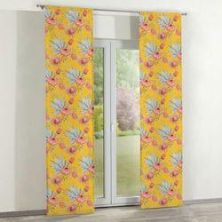 Dekoria zasłony panelowe 2 szt., pomarańczowe kwiaty na żółtym tle, 60 × 260 cm, new art
