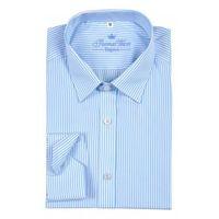 Koszula w biało-turkusowe pasy, kolor niebieski