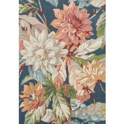 C&m Granatowy dywan w kwiaty dahlia rosehip teal