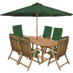 meble ogrodowe carmen 6s + zielone poduszki + zielony parasol, marki Fieldmann