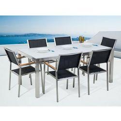 Stół szklany biały - 180 cm - z 6 czarnymi krzesłami - GROSSETO (7105277643806)