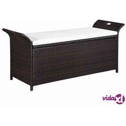 ławka do przechowywania z poduszką, 138 cm, polirattan, brązowa marki Vidaxl