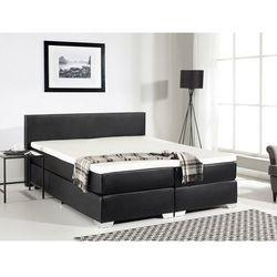 Łóżko kontynentalne 180x200 cm - skóra ekologiczna - PRESIDENT czarne, kolor czarny
