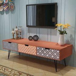 Szafka pod tv z 3 szufladami, 120x40x36 cm, brązowa marki Vidaxl