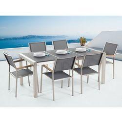 Beliani Meble ogrodowe - stół granitowy 180 cm czarny palony z 6 szarymi krzesłami - grosseto