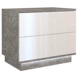 Szafka nocna sonja + led beton mat/biały połysk marki Tes