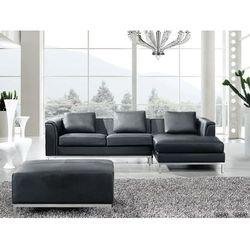 Nowoczesna sofa z pufą ze skóry naturalnej kolor czarny L - kanapa OSLO - produkt z kategorii- Sofy